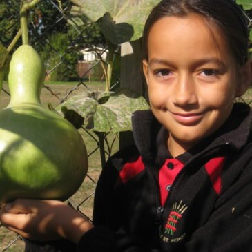 child and gourd