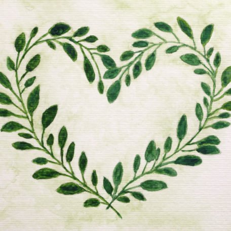 Painted heart shaped green leaf wreath Important notice:My own artwork.This is not a copy.Made exclusively for istock.